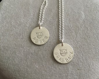 """Feminist Election 2016 pussy(cat) """"grab back"""" and pussy (cat) """"power"""" sterling silver handmade necklace -- feminism politics democrat"""