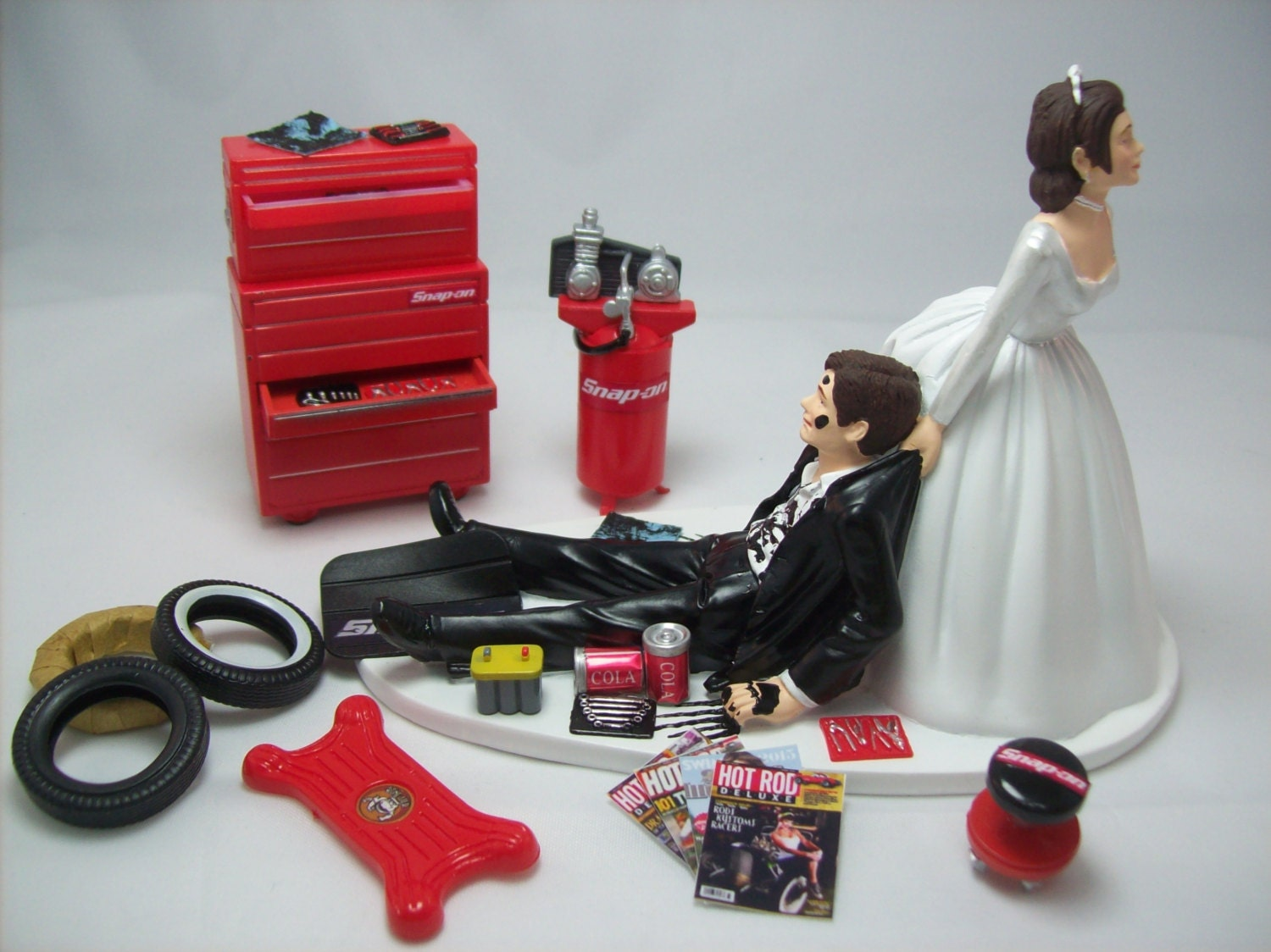 mechanic wedding cake topper