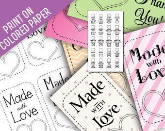 Made With Love Black Line Art Laundry Care Tags and Thank you Notes • Print on Custom, Colored or Patterned Papers • 5 Styles