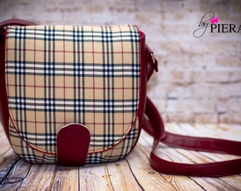 saddle, bag, handbag, purse, plaid, faux leather, burgundy, tartan, ready to ship