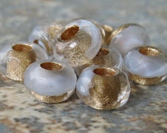 White Gold 6x9mm Czech Glass Roller Bead : 10 pc White Gold Large Hole Pony Bead