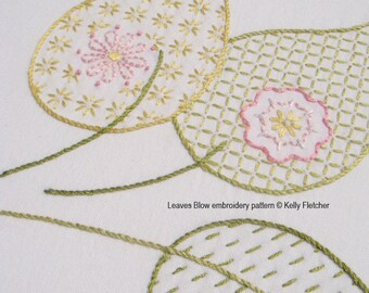 Leaves Blow modern hand embroidery pattern - modern embroidery PDF pattern, digital download