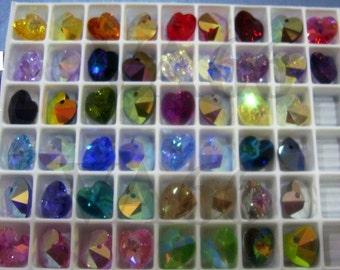 10mm Heart Pendant Swarovski Crystal 6202 AB Col Choice 10p