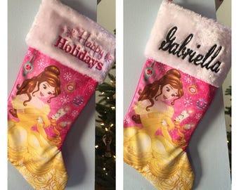 "Disney Princess Belle 20"" Christmas Stocking Plush Cuff  - Personalized"