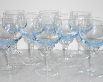 8 Vintage Sasaki Coronation Light Blue Twisted Stem 5 1/2inch Tall Wine Glasses