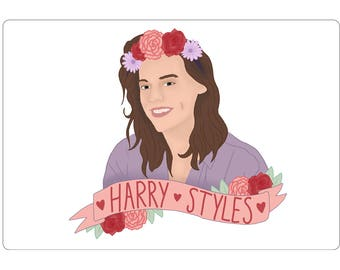 Flower Crown Sticker One Direction Harry Styles Stationery Art Illustration Drawing Banner