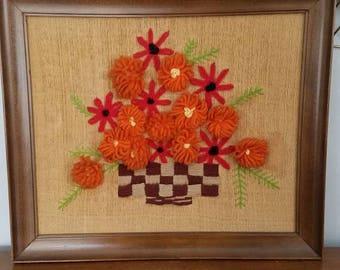 Vintage Crewel Flower Basket, Embroidery, Framed Art, Fiber Art