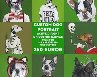 Custom Dog Portrait / 50x60 cm