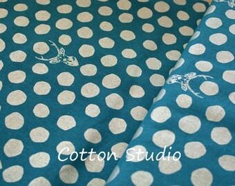 Kokka Echino Metallic Sambar Turquoise with Silver Lightweight Canvas Linen Japanese Fabric Deer By the Half Yard