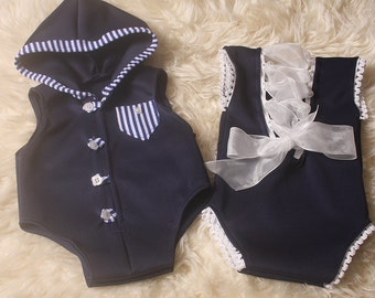 New Born Twins,Boy & Girl,Matching Rompers,For Twin Newborn Photo Shoot,Photographers Props,Baby Boy romper has a boat to the back