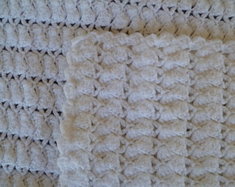 Beautiful Handmade Crochet Baby Blanket with Scalloped Edge