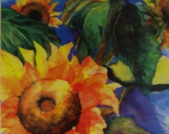 Sunflower, Sunny, Summer, Flowers, Floral, Garden,Vibrant, Bright, Colorful, Contemporary Colors, Watercolor Fine Art by Janet Dosenberry