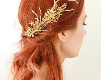 Golden hair comb, gilded leaf comb, bridal headpiece, golden leaf headpiece, rustic wedding, boho bridal comb, woodland wedding hair comb