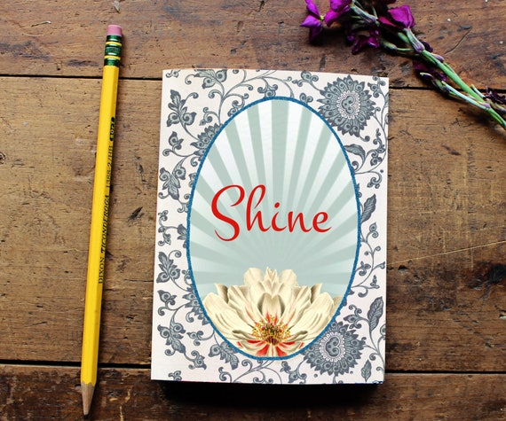 Flower Journal - Notebook - Paper - Notepad -  Lotus Journal - Quote Art Diary - School - Office - Writing - Notes