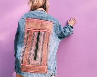Vintage Denim Jacket with Vietnam Textiles