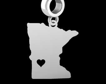 State of Minnesota Dangle Charm | Sterling Silver | Fits All Beaded Charm Bracelets | Available as a Necklace
