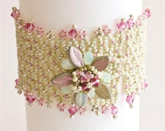 Light Green and Pink Bracelet with Flower Button and Crystals