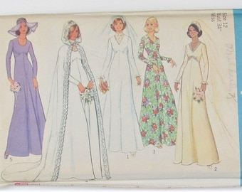 Bridal And Bridesmaid Dress Raised Waistline Back Zipper Hooded Cape Prom Gown Wedding Dress Size 12 Sewing Pattern Simplicity 7284