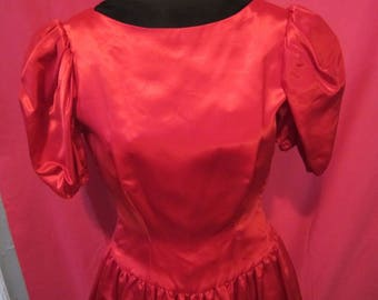 Vintage 80's Lacroix-Style Bright Red Satin Bubble Skirt Formal Prom Dress