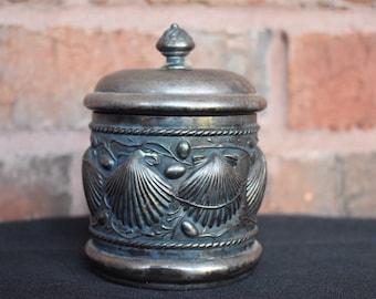 1800's James W Tufts Quadruple Silverplate Seashell Embossed Cup w/ Lid