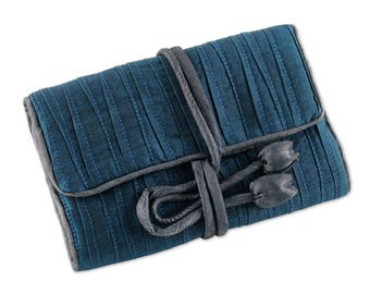 Hand Woven Silk Jewellery Roll - Teal Blue
