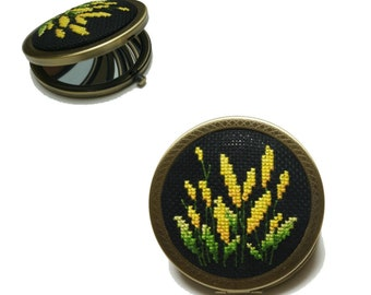 Completed Lovely Cross Stitch Flower pocket mirror