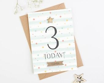 3rd Birthday Card Personalised Three