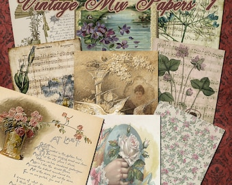 Vintage Mix Papers 1 - Digital Images for Scrapbooking and Paper Crafts Background Papers