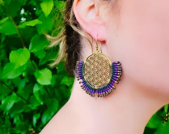 Flower of Life Macrame Brass Earrings | Purple, Green Sacred Geometry | Bohemian Chic