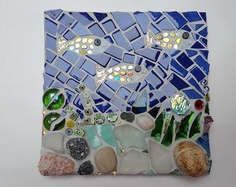 fish and shells mosaic tile