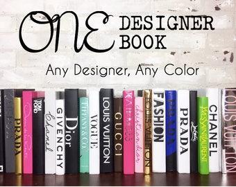 1 CUSTOM BOOK - Any Designer, Any Color - Custom Designer Book, Personalized Book, Bookshelf Decor, Designer Home Decor, Coco Chanel Book,
