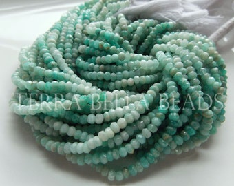 "13"" strand shaded RUSSIAN AMAZONITE faceted gem stone rondelle beads 3.5mm - 4mm blue green aqua"