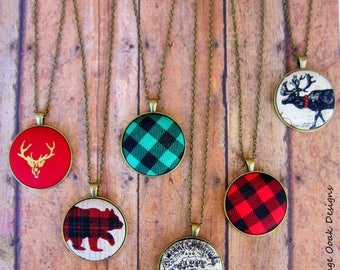 Christmas Necklace, Christmas Statement Necklace, Christmas Jewelry, Plaid Jewelry,Button Necklace, Fabric Button Necklace, Button Jewelry