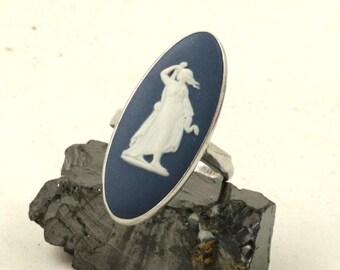 Vintage Wedgwood Ring, Sterling Silver, Dark Blue Jasper Cameo Ring, Wedgewood Ring, US Size 5.75, UK Size L
