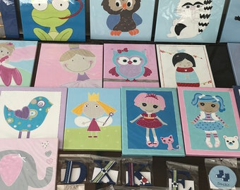 Handpainted assorted canvases. Apporox: 25cm x 30cm and come ready to hang