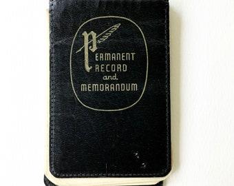 Vintage Notepad / Permanent Record and Memorandum / Vintage Paper