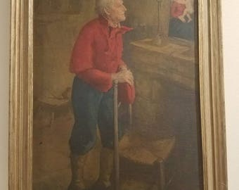 Set of Two Vintage Framed Lithographs Old Man and Old Woman
