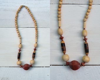 1970s Wood Bead Necklace