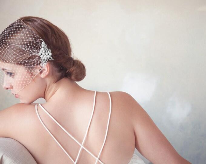 Wedding Veil, Birdcage Veil, Bridal Veil, Bridal Comb, Bandeau Birdcage Veil, Blusher Bird Cage Veil - Detachable Pearl Rhinestone Hair Comb