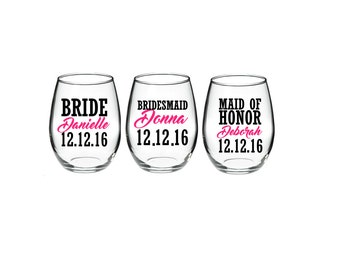 Bachelorette -  Bachelorette Party - Bride - Bridesmaid - Maid of Honor Gifts 15 oz stemless wine glasses