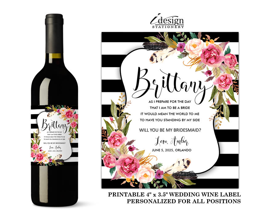 Will You Be My Bridesmaid Wine Label Custom Diy Printable