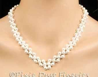 Pearl Bridal Necklace, White Swarovski Pearl Bridal Necklace, Vintage Inspired Wedding Statement Necklace - Natalia (WN0114)