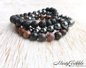 Mens Bracelets, Jasper Hematite Lava Stone Bracelet Stack, Mala Beads Bracelet Set, Boho Bracelets, Lava Stone Bracelet, Healing Bracelets