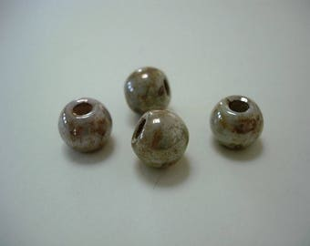 Set of 4 big hole beige ceramic round beads