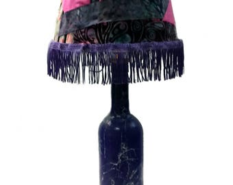 Purple lamp with fabric scraps lampshade, purple fringe, novelty accent lamp, colorful table lamp, unique lighting, Free Shipping