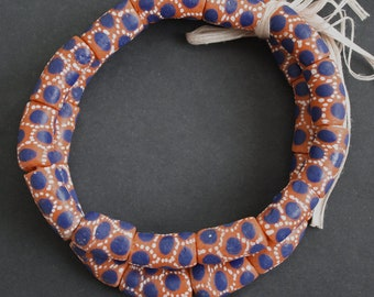 Large African Beads, Ghana Recycled Glass Tubes, 22 mm, Orange and Blue, One Strand of 12-13