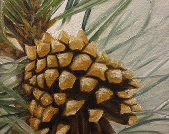 The Pine Cone, 8x10 Original Oil Painting on Canvas
