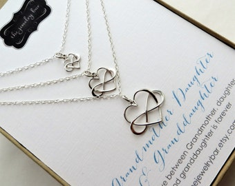 mothers day gifts for grandma, Generations jewelry, infinity heart necklace in 3 sizes, women, Grandmother, mother daughter, gift for mom