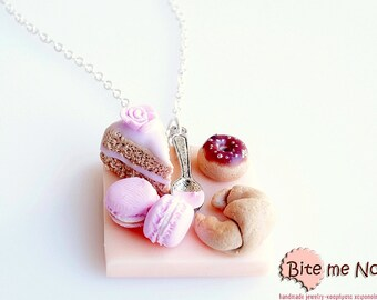 Mini Food French Pastries on a Table with Spoon Necklace, Miniature Food, Polymer Clay Sweets, Handmade Necklace,  Food Jewelry,Cute Jewelry