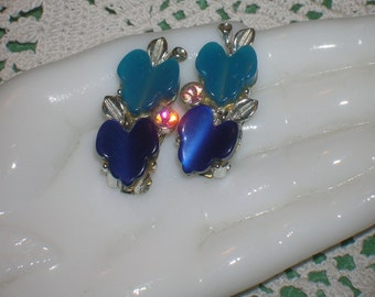1950s, Clip-on Earrings, Navy, Teal Heart Shaped Apples